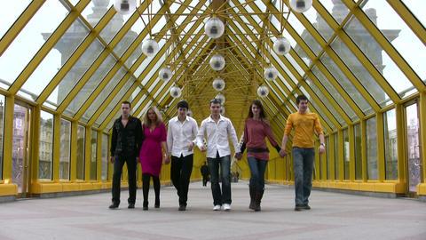 walking friends group Stock Video Footage
