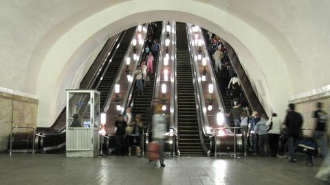 subway escalator time lapse Stock Video Footage