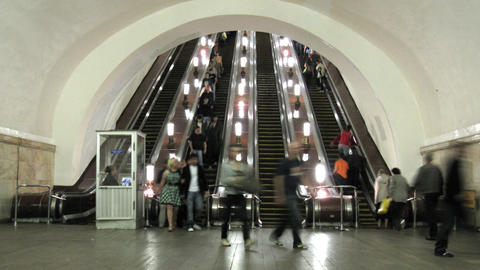 subway escalator time lapse Stock Video Footage