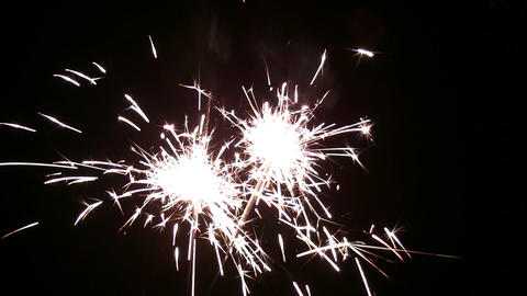 two sparklers Stock Video Footage