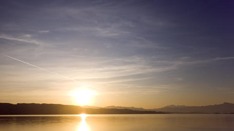 Sunrise Above A Lake (timelapse) stock footage