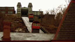 Tram on rail tracks Stock Video Footage
