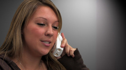 Woman Talking on Phone Close up Footage