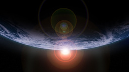 Sunrise behind Earth Arc Animation