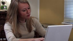Girl on computer 2 Stock Video Footage