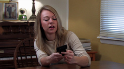 girl dialling on handphone Stock Video Footage