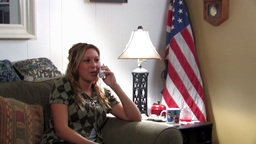 Patriotic girl using telephone Stock Video Footage