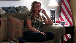 Patriotic girl using telephone Stock Video Footage