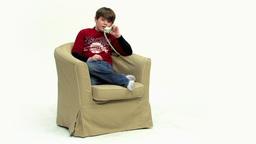 Boy on telephone HD Stock Video Footage