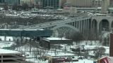 Snow-Covered City Junction In Winter stock footage