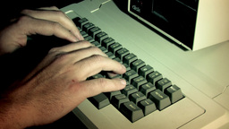 Typing On Computer Keyboard (Side view) Stock Video Footage