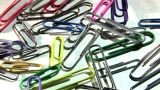 Colourful Paper Clips In Motion stock footage