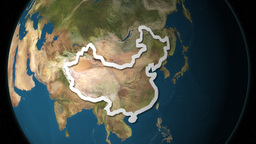Dramatic Zoom Into China's Map From A Rotating Planet Stock Video Footage