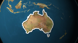 Dramatic Zoom Into Australia's Map From A Rotating Planet Stock Video Footage