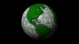 Money-Themed Rotating Globe With Green Dollar Currency... Stock Video Footage