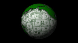 Money-Themed Rotating Globe With Green Dollar Currency Notes As Background Animation