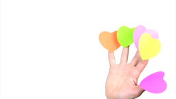 Fingers with hearts waving Stock Video Footage