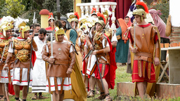 Christ is whipped Calvary Road by Roman legionaries Footage