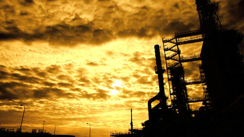 Oil Plant Spooky Silhouette Footage