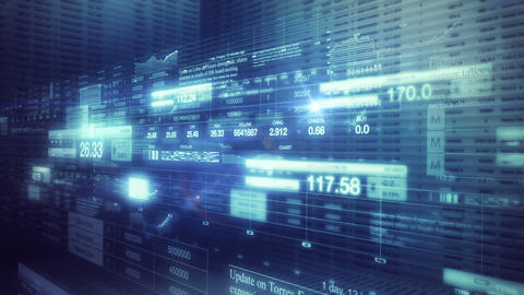 Stock Market Tickers Smooth Camera Pan stock footage