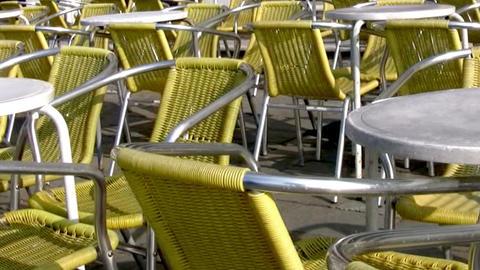 Empty street café Stock Video Footage