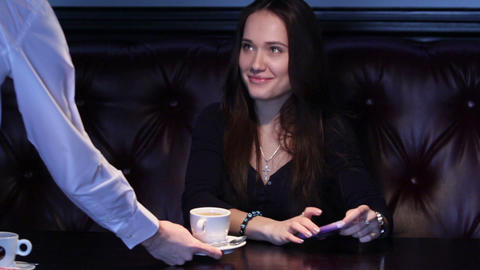 Girl Thank The Waiter For Coffee Footage