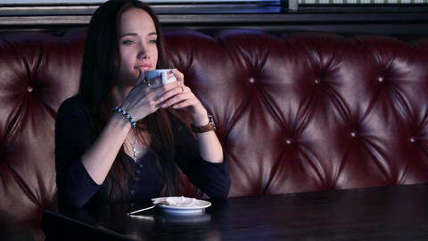 Girl Enjoys Coffee Stock Video Footage