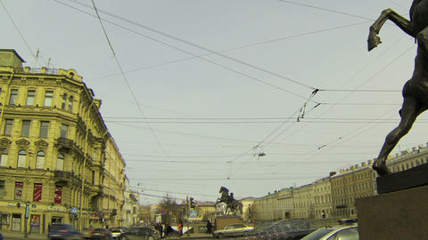 Anichkov bridge in St. Petersburg Footage