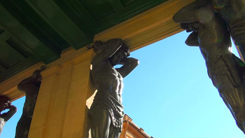 Sculpture of the Atlanteans in St. Petersburg Footage