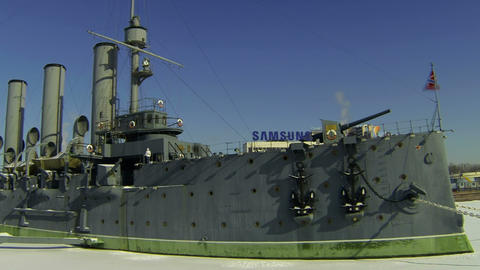 Cruiser Aurora In St. Petersburg stock footage