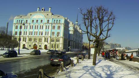 Cruiser Aurora and Nakhimov school in St. Petersburg Stock Video Footage