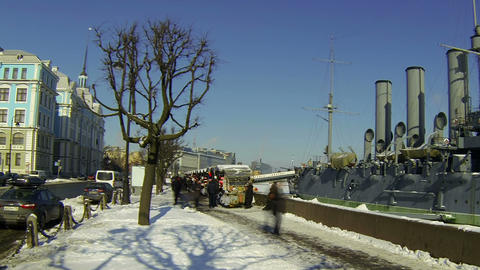Cruiser Aurora And Nakhimov School In St. Petersburg stock footage