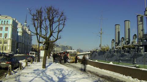 Cruiser Aurora and Nakhimov school in St. Petersburg Footage