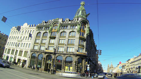 Zinger house in Saint-Petersburg Stock Video Footage