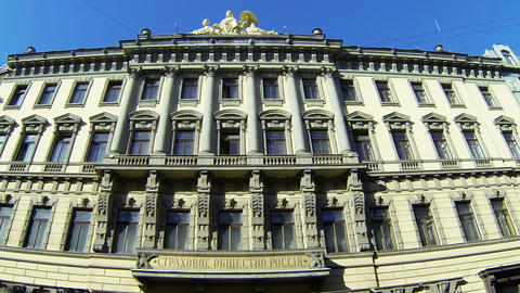 The facade of an old building in St. Petersburg Stock Video Footage