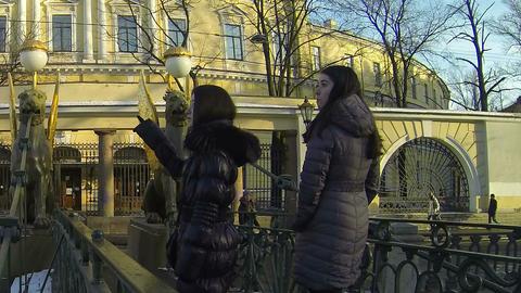 Bank bridge in St. Petersburg. Griffins Stock Video Footage