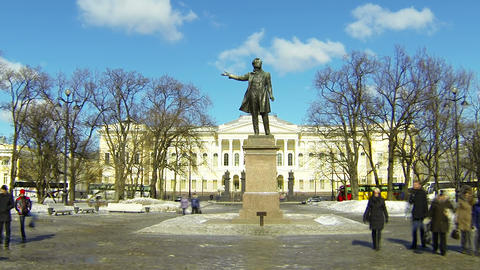 Square of Arts in St Petersburg Stock Video Footage