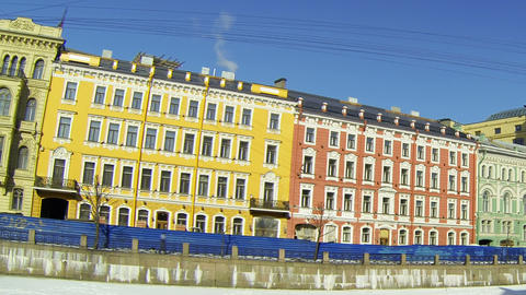 Facade of an old building in St. Petersburg Stock Video Footage