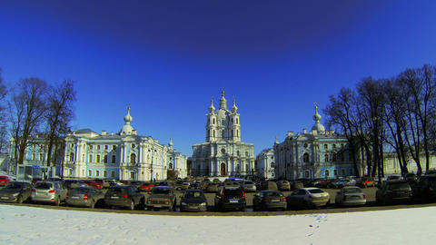 Smolny of the Resurrection of Christ Cathedral in St.... Stock Video Footage