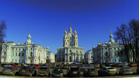 Smolny of the Resurrection of Christ Cathedral in St. Petersburg Footage