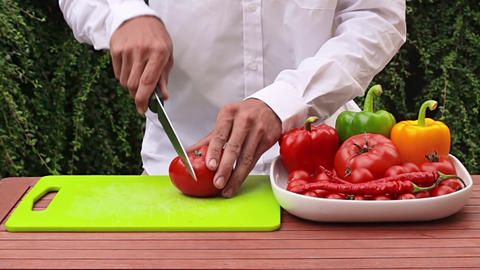 Cutting Vegetable stock footage