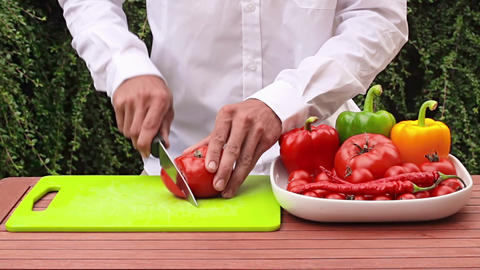 Cutting vegetable Stock Video Footage