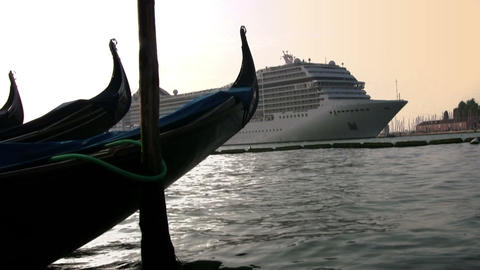 Gondola and cruise ship Stock Video Footage