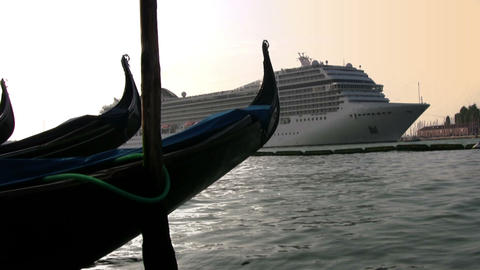 Gondola And Cruise Ship stock footage