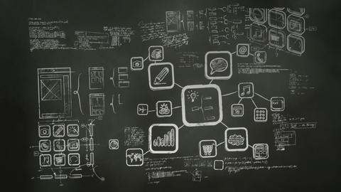 Software Development Blackboard Scribblings stock footage