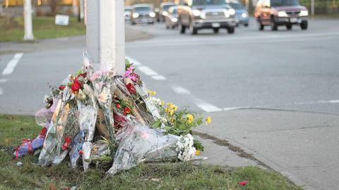 Traffic Passes By Roadside Memorial Stock Video Footage