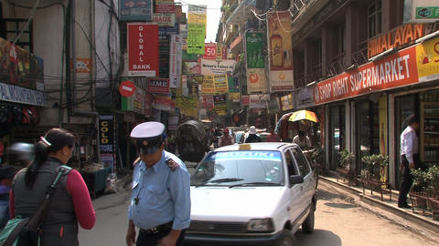 Busy crossing in the streets of thamel Stock Video Footage