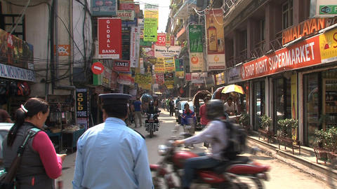 Busy crossing in the streets of thamel Footage