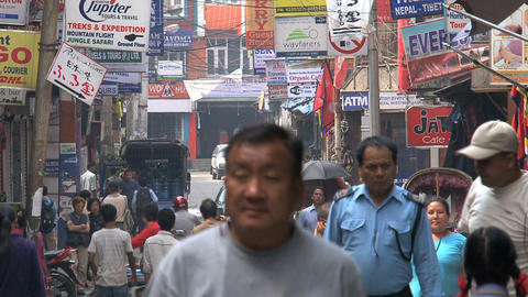 Busy street in thamel Footage