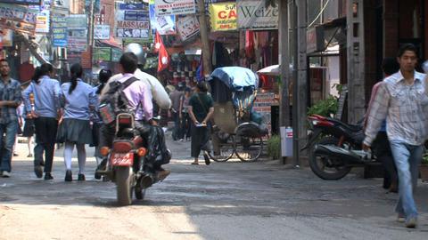 Busy street downtown Thamel Kathmandu Footage